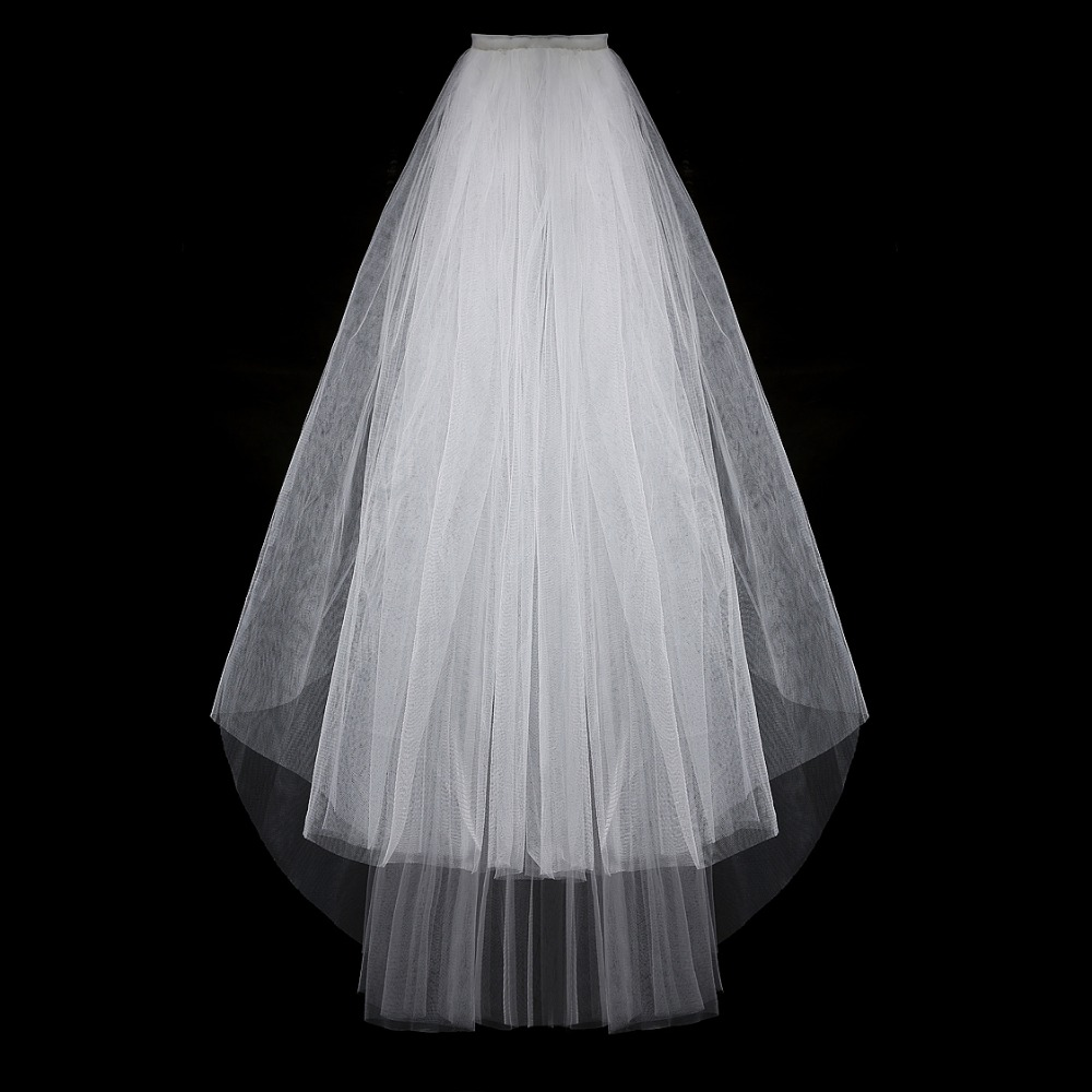 Simple Short Tulle Wedding Veils Cheap White Ivory Bridal Veil for Bride for Mariage Wedding Accessories With Comb Two Layer