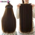5 клипс SHANGKE, натуральные шелковистые прямые волосы для наращивания, 24 дюйма, женские клипсы, Длинные искусственные синтетические волосы