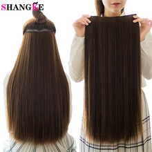 SHANGKE 5 clips/piece Natural Silky straight Hair Extention