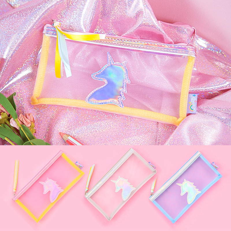 Kawaii Cute creative Unicorn laser Pen Bag Pencil Holder Storage Case School Supply Birthday Gift Cosmetic Makeup Travel