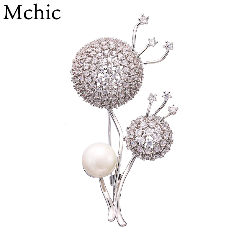 Mchic AAA Luxury Bling Zirconia Charm Mushroom Unique Brooches Pin CZ Women Exquisite Jewelry Lapel Clothing Accessories Gift