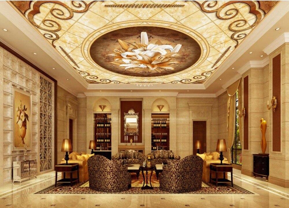 Home Decoration Sky Ceiling Wallpaper European Style Garden Flower Zenith Murals In Wallpapers From