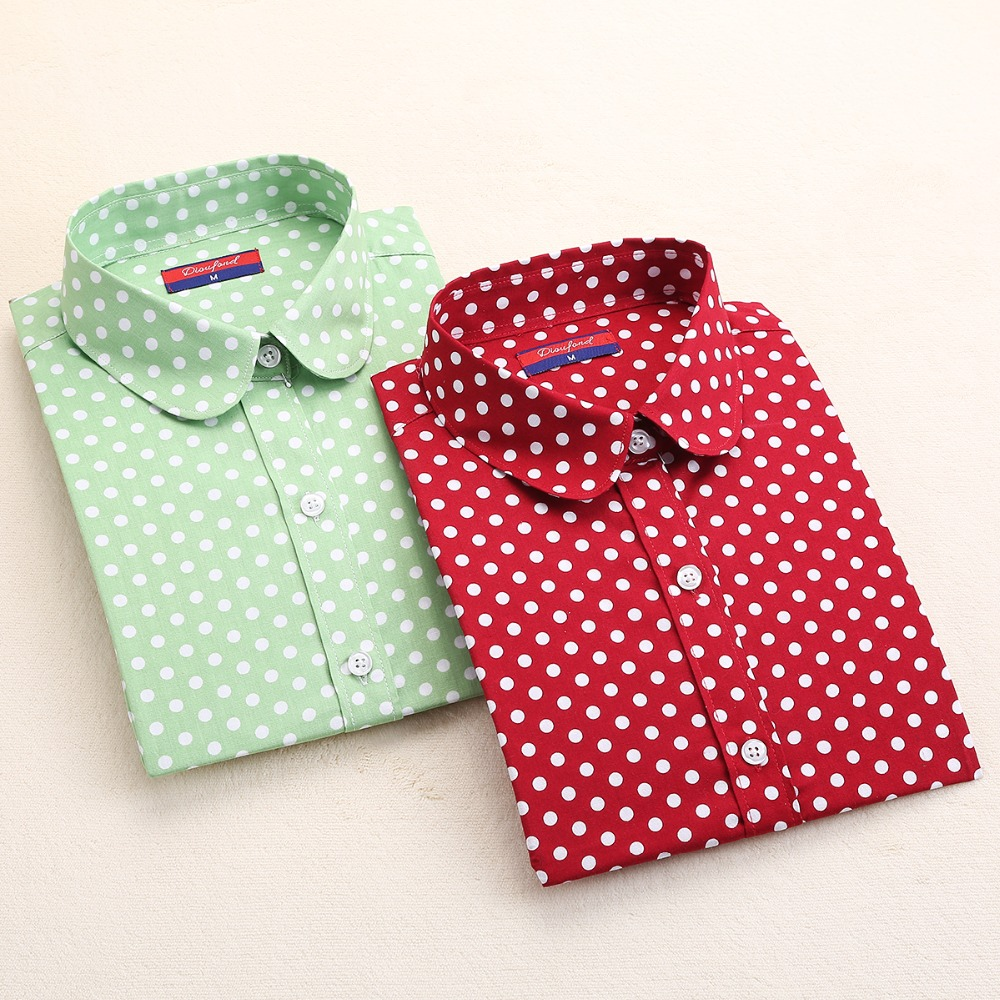 New Brand Long Sleeve Shirt Women Polka Dot Blouse Cotton Ladies Tops Camisetas Women Shirts Blouses 2016 Polka Dot