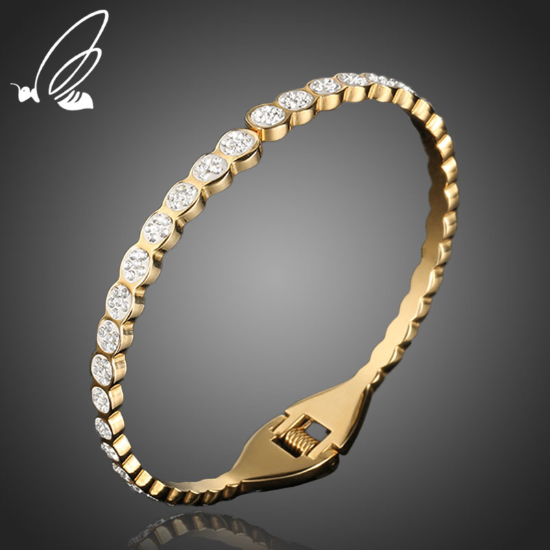 Fashion Full Rhinestone Brilliant Cuff Bangles Bracelet 316L Stainless Steel Gold Wedding Open Bangle Jewelry For Women Armband