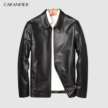 CARANFIER 2019 New Brand Mens Jackets Genuine Sheepskin Leather Casual Slim Fit Coats Motorcycles Black Outerwear Overcoats Coat
