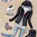 Algodón chaqueta con capucha mujer 2015 nueva moda de invierno espesar abrigo de la mujer Casual delgado acolchado Outwear chaquetas mujer