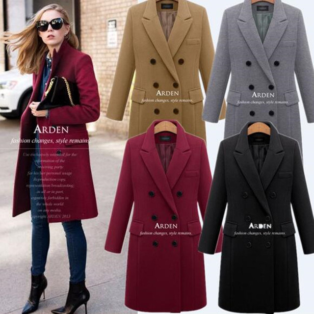 Vancol Autumn Overcoat Woolen Thickening Jacket Slim Plus Size 4XL Black Solid Color Long Wool Blend Women Winter Coat