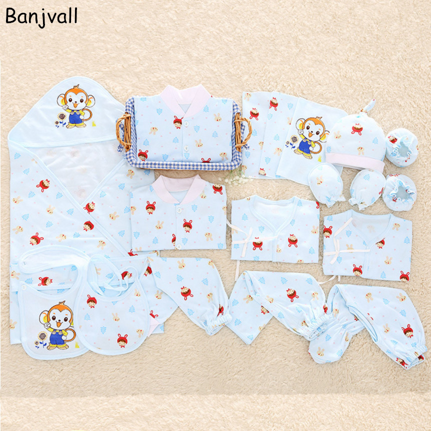 Newborn Baby Clothing Gift Set Underwear Suits Infant Clothing Set 100% Cotton Character 19 Pieces For Spring & Summer 16 pieces set newborn baby clothing set underwear suits 100% cotton infant gift set full month baby sets for spring