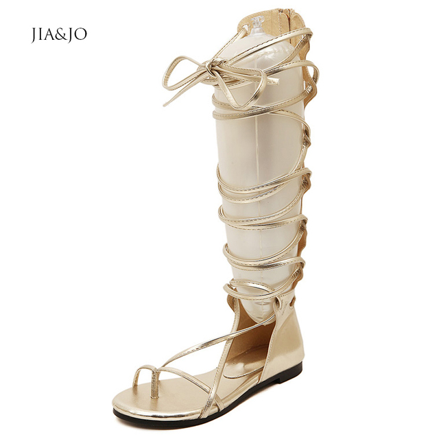 8b2b3eb77a7 Size 35-39 Womens Flat Knee High Gladiator Sandals Flip Flops Summer  Leather Lace up Shoes Black Gold MZ016