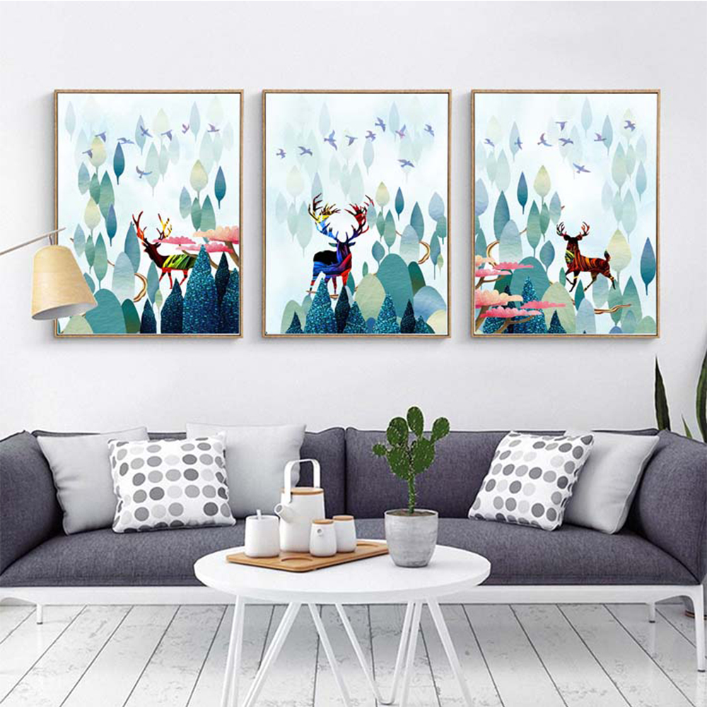 Canvas Painting Forest And Deer Cartoon Decorative For Bedroom Room Home Decor Posters Prints