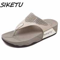 SIKETU Hot Sell Women Summer Comfortable Breathable Flat With Sandals Shoes Woman Folder Foot Crystal Party