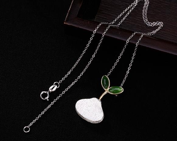 Sterling S925 925 pendentif en argent collier graine pour fille chandail chaîne 17*26 MM