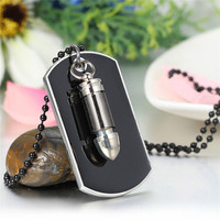 Men Jewelry Army Style Bullet Tag Pendant