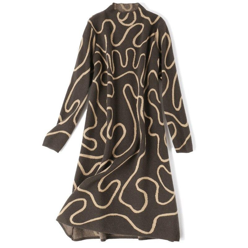 Pull robe 2018 hiver mode femmes nouveau col montant à manches longues géométrique imprimé lâche chaud laine tricoté robe Midi - 5