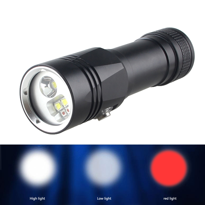 3 Mode Diving Flashlight White & Red LED Light Diving Torch for Photography Underwater Video Scuba Flashlight