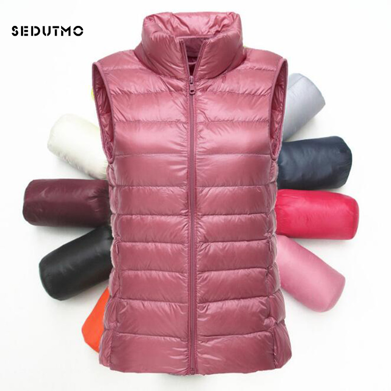 SEDUTMO 2018 Winter Ultra Light Womens Down Jackets Plus Size 3XL Vest Duck Down Doat Short Puffer Jacket Tank Waistcoat ED115