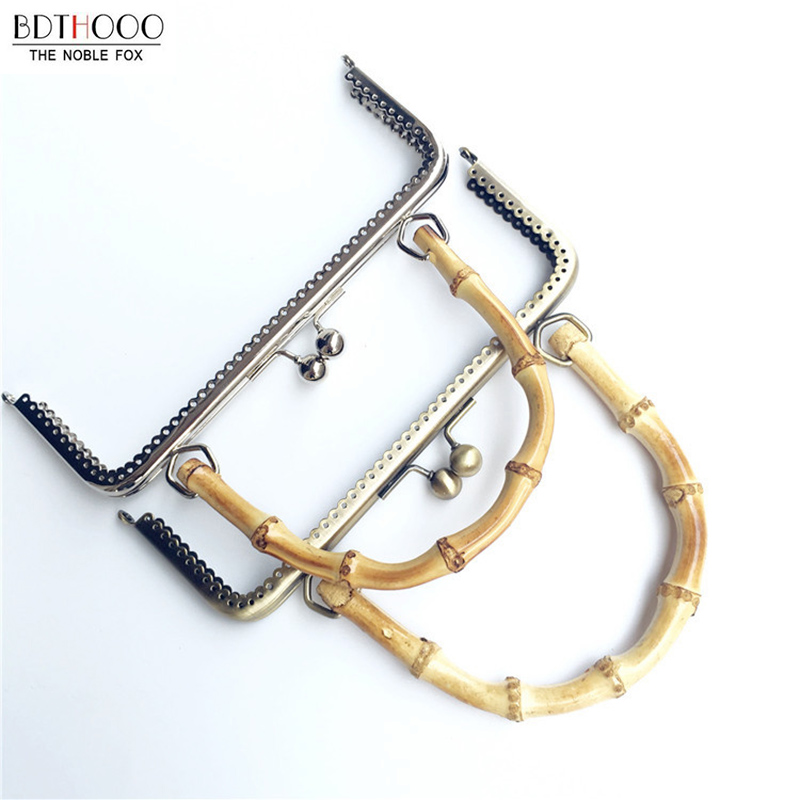 20cm Bamboo Handle Bag Metal Frame Bronze Rectangle Smooth Clasp Lock Bag For DIY Made Sewing Clutch Handbag Hardware Accessorie