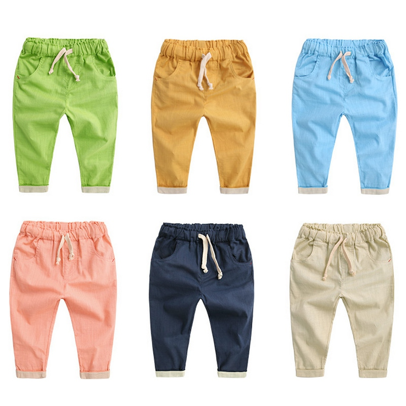 Children Linen Cotton Elastic Waist Harem Pants Boys Trousers Pants Loose