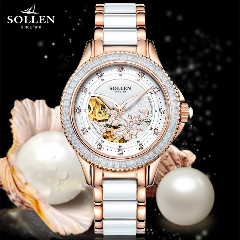SOLLEN Crystal Sapphire Ladies Stainless steel imitation Ceramic Automatic Mechanical Watch women  hollow Waterproof Wristwatch sapphire