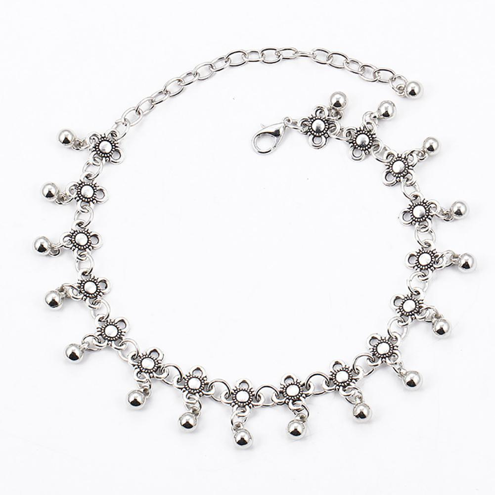 Vintage Water Droplets Tassel Floral Anklet Chain Barefoot Summer Beach Jewelry Alloy Anklet Flower Pattern Foot Jewelry Party