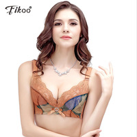 26cd27687 Fikoo Women Sexy Push Up Bras Top Embroidery Red Brassiere Floral Lingerie  3 4 Cup Underwear