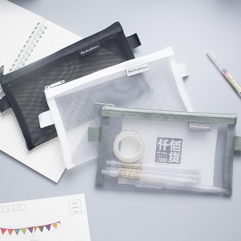 1 PC Simple Transparent Mesh Pencil Case Office Student Pencil Cases Nylon Kalem Kutusu School Supplies Practical Pen Box