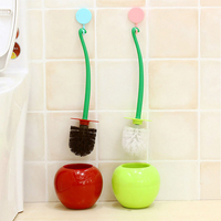 Creative Cherry Design Toilet Bowl Brush Holder Set Long Handle Toilet Cleaner Cleaning Brush Bathroom Cleaning