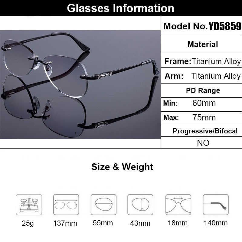 Image 5 - Sunglass Style Women Rimless Frame Men Titanium Alloy Glasses Frame Diamond Trimming Cut Rimless Glasses With Gradient Tint Lens-in Men's Eyewear Frames from Apparel Accessories