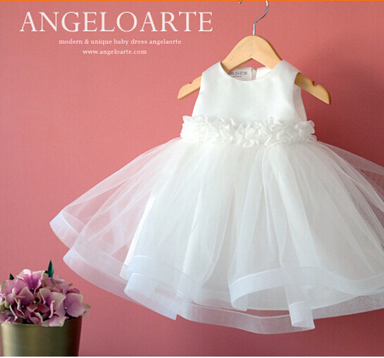 37c69774034f Noble White appliques christening gown newborn baby girls wedding ...