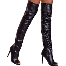 2017 Sexy Women Black Peep Toe Thigh Boots High Heel Over The Knee Boots Ladies Stilettos Long Boots Customized Free Shipping