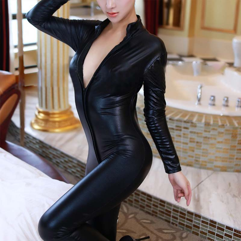 Sexy Black Catwomen Jumpsuit Latex Catsuit Costumes For Women Fetish Faux Leather Front Zipper Open Crotch Stretch Bodysuits XXL