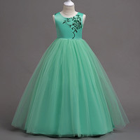 New Elegant Mint Green Flower Girl Dresses For Wedding Party Long Style Teenage Girl Dress First Communion Pageant Dresses Hot