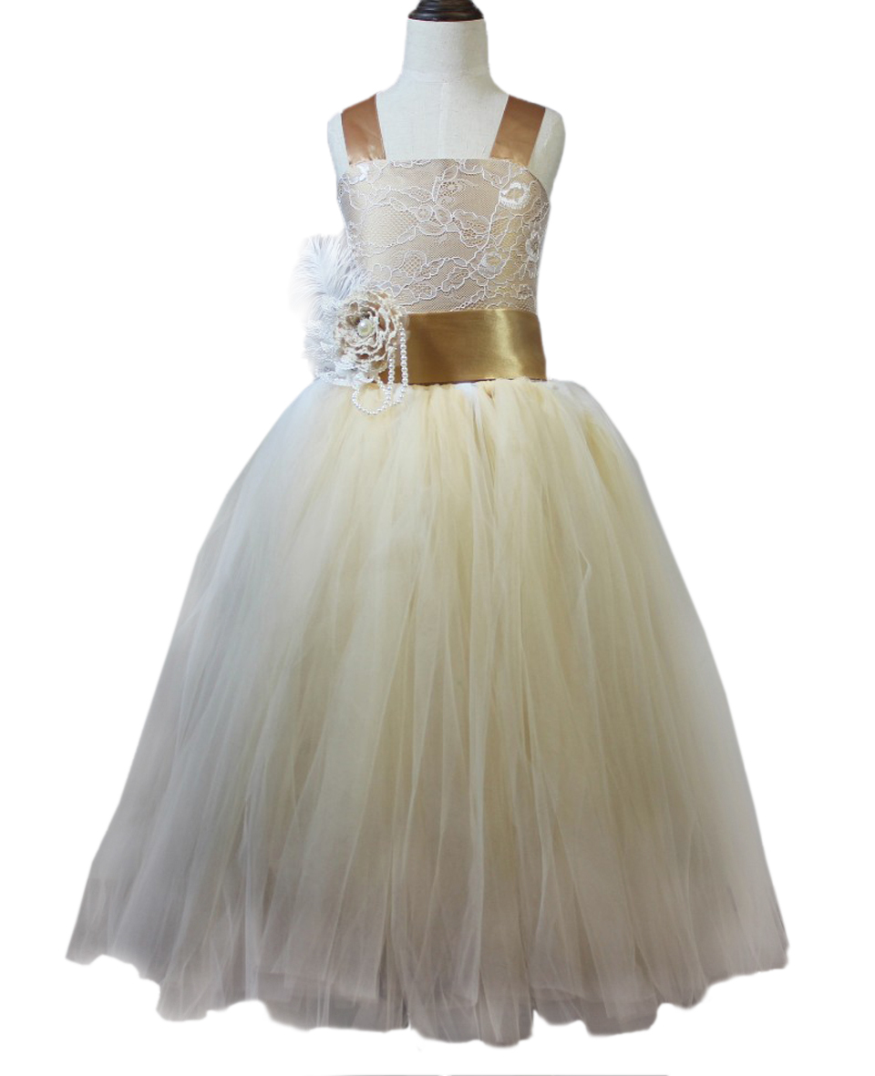 Wholesale Trottie Holy Frocks Vintage Rustic Lace Champagne Flower Vestido for Birthday Little Girl Pageant Tulle Ball Gowns 12