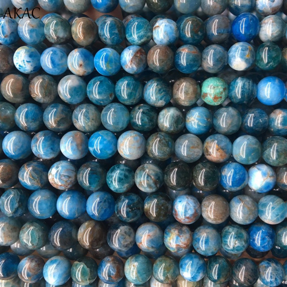 Stone-Beads Blue Apatite Semi-Gemstone Making Natural 8mm 6mm 4mm For Diy Wholesale Cheap-Price
