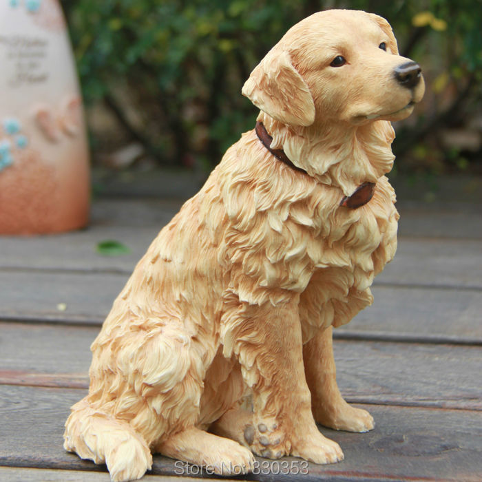 Excellent Resin Realistic Golden Retriever Statue Home Decoration on  IY52