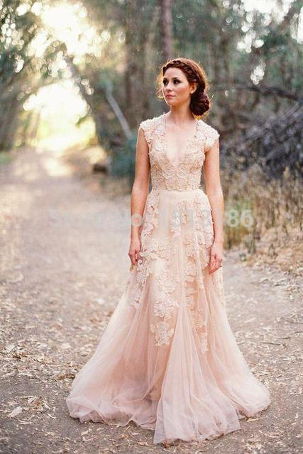 2014 Fashion Sheer V-Neck Lace Applique Wedding Dress Sweep Train Tulle A-line Bridal Gowns Vintage Garden Wedding Dresses XY489