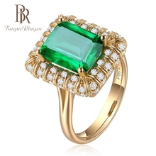 купить Bague Ringen 18K Gold Color Luxury Wedding Finger Rings for Women 925 Silver Jewelry Emerald Ring Wholesale Female Jewelry Gift по цене 276.81 рублей