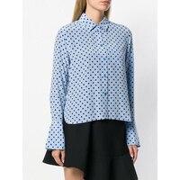 Новая мода Винтаж Повседневное Для женщин синий 100% натуральная шелковая блузка в горошек рубашка YH194