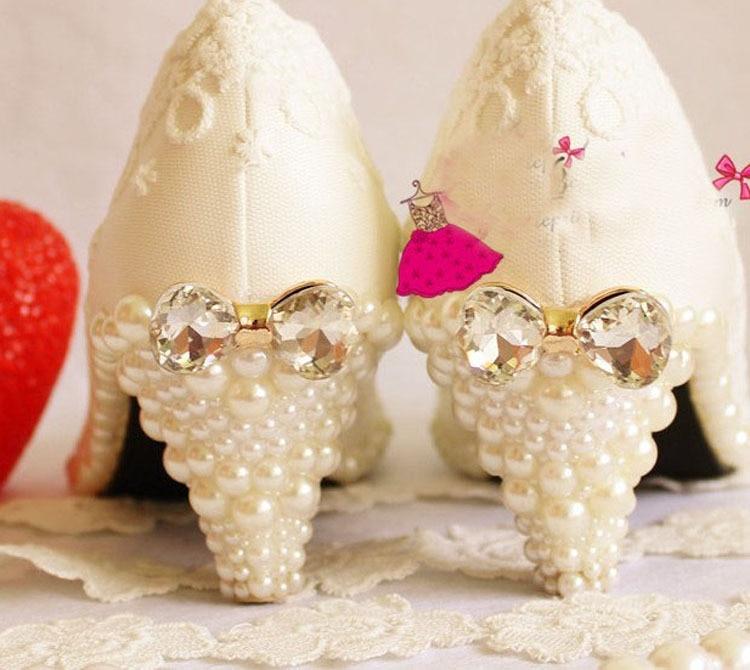 Mousseux Chaussures Cm Talon La À Dentelle Perle Main Mariage Moyen Robe 6 Diamant Formelle Blanc De XgTqO