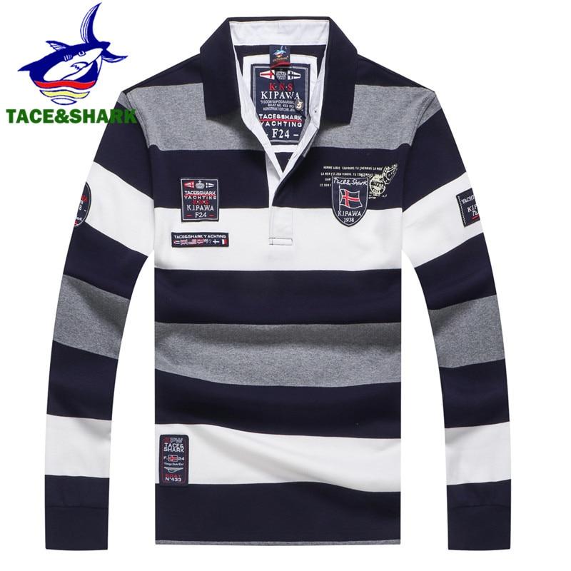 b14d5964dd59 TACE&SHARK Brand 2018 New Style Fashion Shark Long Sleeve Polo Men Stripe  Camisa Masculina Polo Clothing