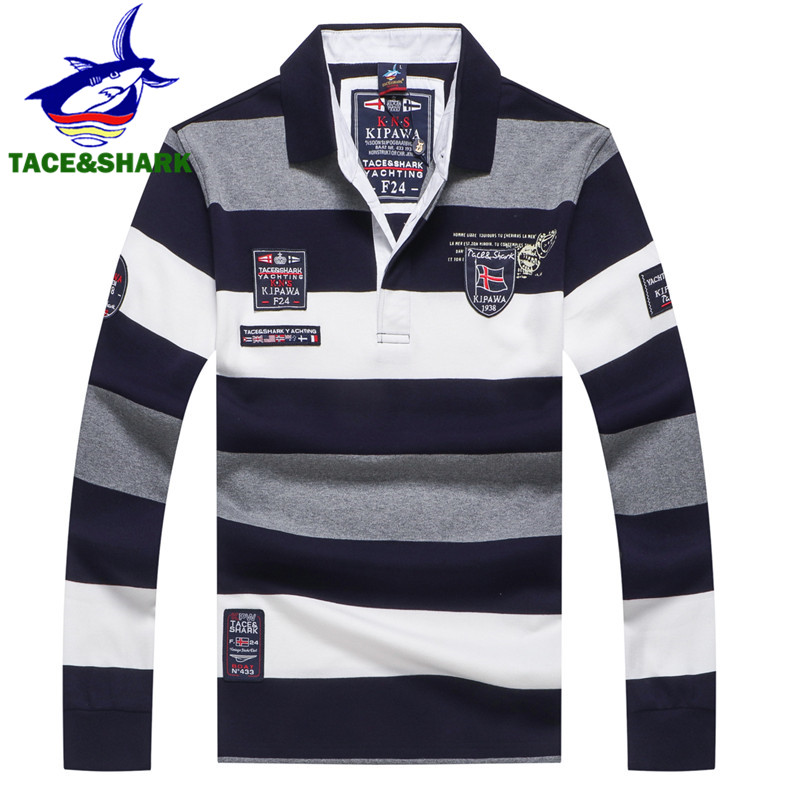 TACE&SHARK Brand 2018 New Style Fashion Shark Long Sleeve   Polo   Men Stripe Camisa Masculina   Polo   Clothing Casual Business Homme