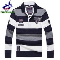 TACE&SHARK Brand 2018 New Style Fashion Shark Long Sleeve Polo Men Stripe Camisa Masculina Polo Clothing Casual Business Homme