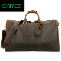 Vintage Crazy Horse Genuine Leather Cowhide Travel men duffle Totes luggage Retro Nature cow Skin Large Weekend Bags