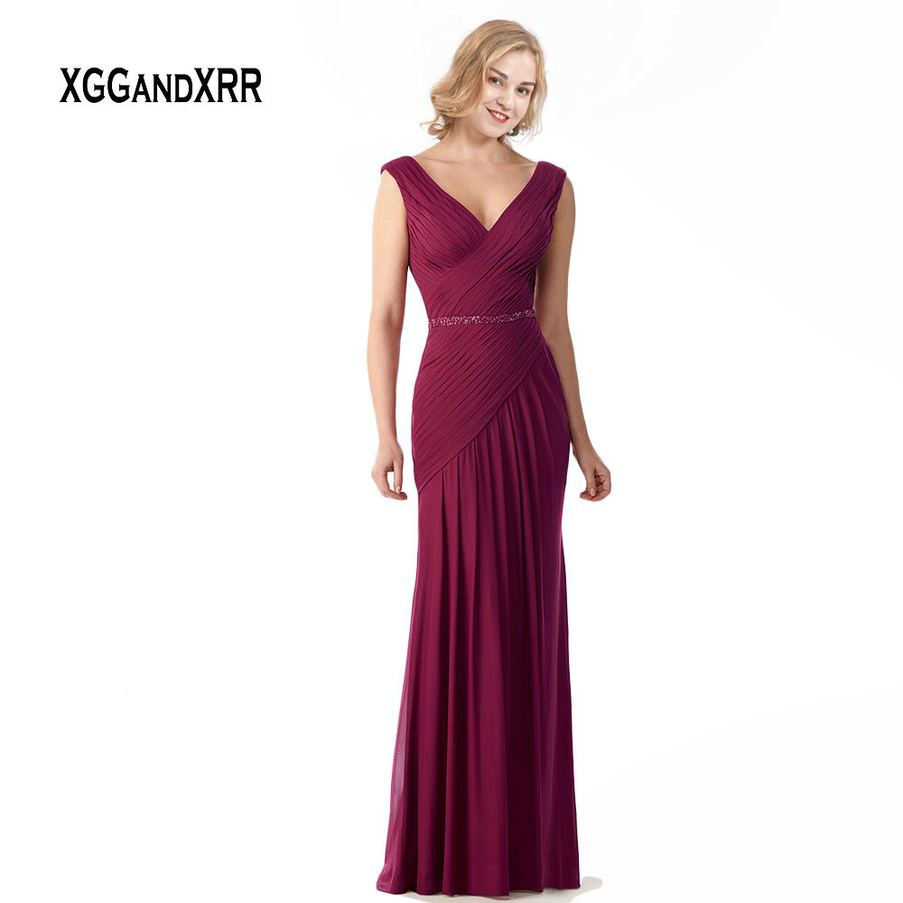 Elegant Burgundy Chiffon Mother Of Bride Dresses 2019 V Neck Pleats Beading Backless Groom Mother Long Evening Dress Plus Size(China)