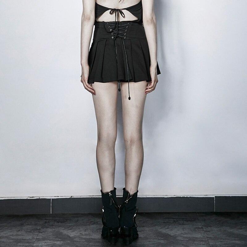 Mujeres Algodón Nueva Cultiva Moralidad Su Cintura Llegada Punk Mini Mostrar Falda Hight Thin Punky Plisado 0XEgwgx