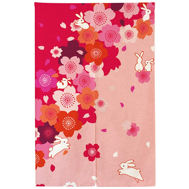 HOT-Japan North Gate Road Shower Curtain Full Moon Tapestry Kitchen Curtain Printing Rabbit Curtain