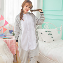 Gray koala cartoon animal conjoined pajamas thicken men and women lovers Koala animal cosplay XC-7104