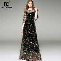 New Arrival 2018 Spring Summer Women's O Neck Long Sleeves Embroidery High Street Runway Maxi Fashion Long Dresses