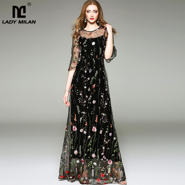 caa944fd9647a US $40.46 30% OFF|New Arrival 2019 Spring Summer Women's O Neck Long  Sleeves Embroidery High Street Runway Maxi Fashion Long Dresses-in Dresses  from ...