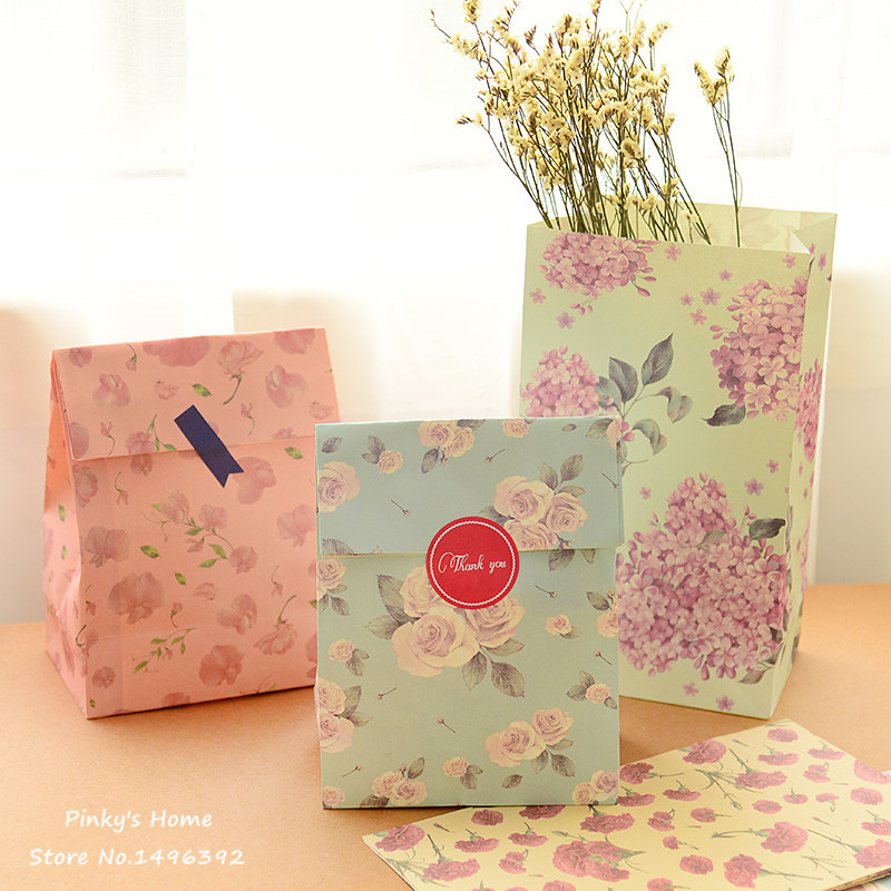 3PCS/LOT Floral Paper Rural Style Bags Gift Bags Gift Envelope